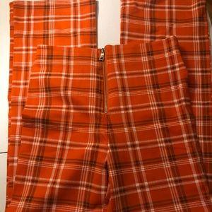 I AM GIA Orange Plaid Pants L